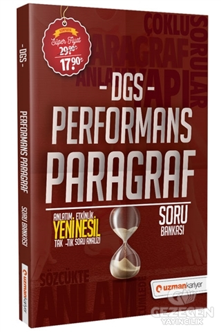 Uzman Kariyer 2020 DGS Performans Paragraf Yeni Nesil Soru Bankası Uzman Kariyer Yayınları