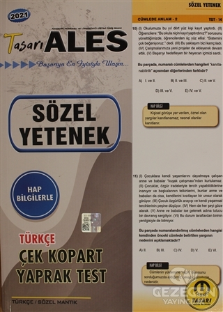 2021 ALES Türkçe Sözel Yetenek Yaprak Test | Tasarı Yayıncılık