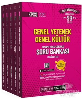 2021 KPSS Genel Yetenek Genel Kültür Tamamı Video Çözümlü Soru Bankası Modüler Set - 5 Kitap  Pegem Akademi Yayıncılık