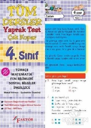 4. Sınıf Tüm Dersler Yaprak Test Çek Kopar