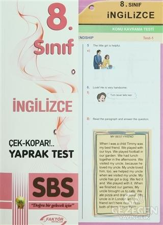 8. Sınıf SBS İngilizce Çek-Kopar Yaprak Test