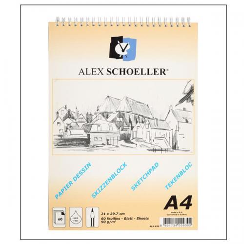 Alex Schoeller Eskiz Blok Spiralli Dikey 60 YP 90 GR A4 ALX-820
