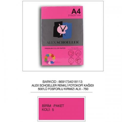 Alex Schoeller Renkli Fotokopi Kağıdı 500 LÜ A4 75 GR Fosforlu Kırmızı ALX-750
