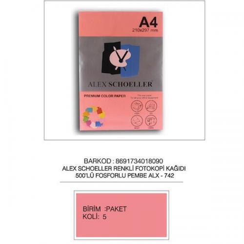 Alex Schoeller Renkli Fotokopi Kağıdı 500 LÜ A4 75 GR Fosforlu Pembe ALX-742