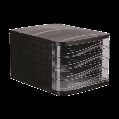 Ark Evrak Rafı Çekmeceli Plastik 4 LÜ Siyah 4444