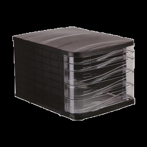 Ark Evrak Rafı Çekmeceli Plastik 5 Lİ Siyah 4445