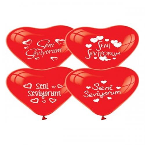 Balonevi Balon Çepeçevre Kalpler Baskılı 100 LÜ