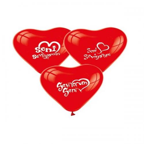 Balonevi Balon Seni Seviyorum Baskılı Kalp 100 LÜ 1008