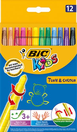 Bic Mum Pastel Boya Turn&Color Kartelalı Çevirmeli 12 Renk 880508