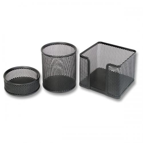 Bion Masa Seti Ataşlık-Kağıtlık-Kalemlik 3 LÜ Metal Perforeli Siyah 9302