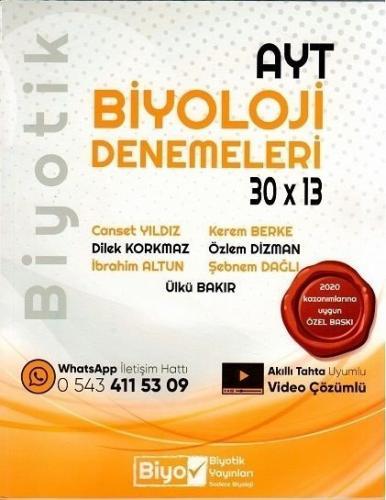 Biyotik YKS AYT Biyoloji Deneme 30x13 Video Çözümlü Biyotik Yayınları
