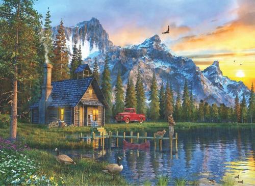 Anatolian Dağevinde Günbatımı Sunset Cabin 1000 Parça Puzzle - Yapboz