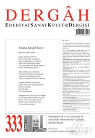 Dergah Edebiyat Kültür Sanat Dergisi Sayı: 333 Kasım 2017