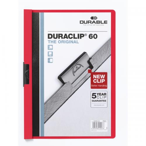 Durable Sıkıştırmalı Dosya DuraClip Ortadan Klipsli 60 SY A4 Kırmızı 2209
