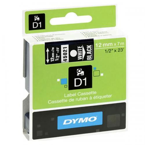 Dymo D1 Şerit Standart 12 MMx7 MT Siyah Üzerine Beyaz 45021