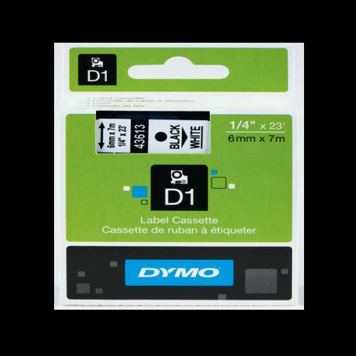 Dymo D1 Şerit Standart 6 MMx7 MT Beyaz Üzerine Siyah 43613