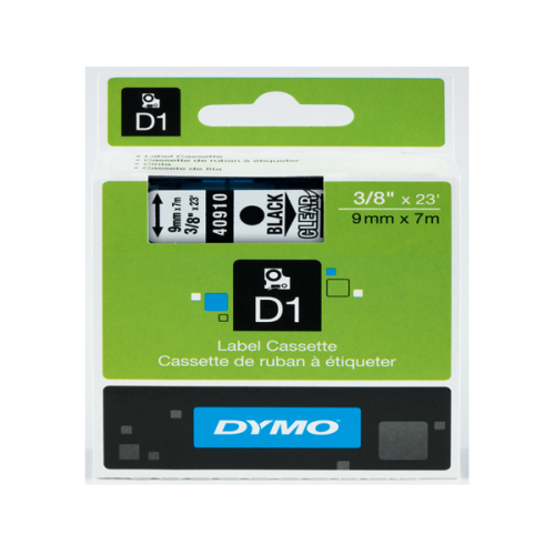 Dymo D1 Şerit Standart 9 MMx7 MT Şeffaf Üzerine Siyah 40910 S0720670
