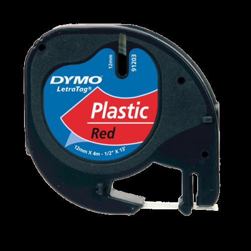 Dymo Letratag Şerit Plastik 12MMx4 MT Kırmızı 91203