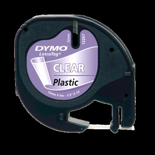 Dymo Letratag Şerit Plastik 12MMx4 MT Şeffaf Üzerine Siyah 12267