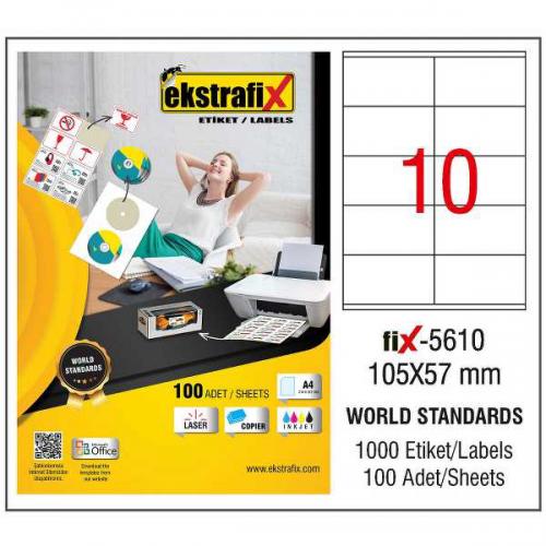 Ekstrafix Lazer Etiket 100 YP 105x57 Laser-Copy-Inkjet FİX-5610