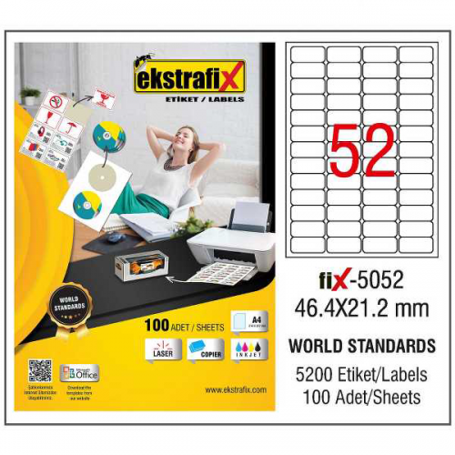 Ekstrafix Lazer Etiket 100 YP 46.4x21.2 Laser-Copy-Inkjet FİX-5052