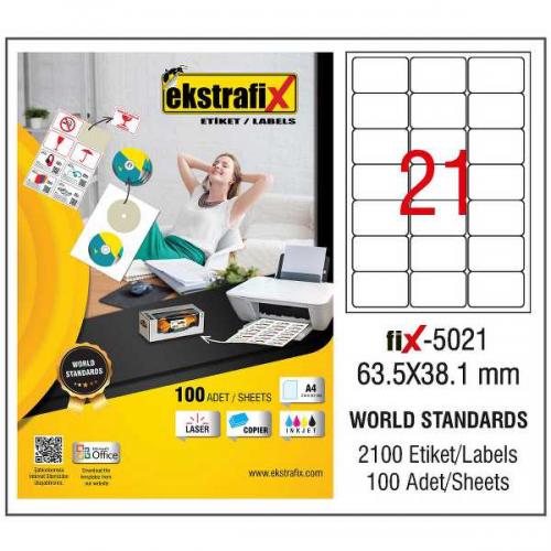 Ekstrafix Lazer Etiket 100 YP 63.5x38.1 Laser-Copy-Inkjet FİX-5021