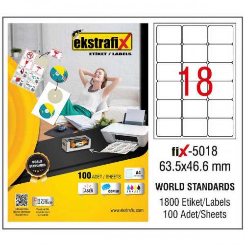 Ekstrafix Lazer Etiket 100 YP 63.5x46.6 Laser-Copy-Inkjet FİX-5018