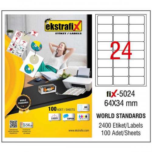 Ekstrafix Lazer Etiket 100 YP 64x34 Laser-Copy-Inkjet FİX-5024