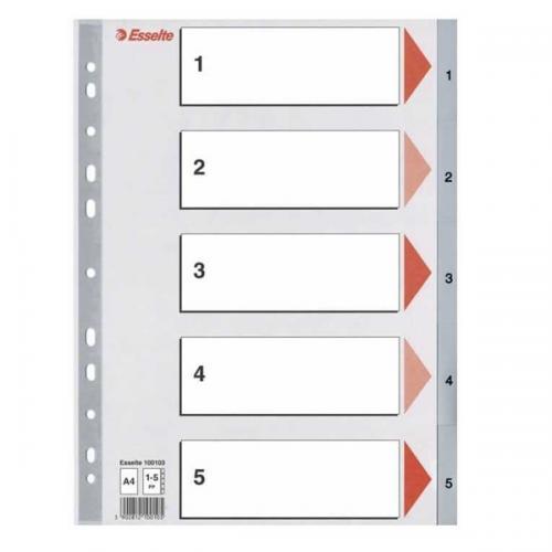 Esselte Seperatör 1-5 Rakamlı Plastik A4 100103