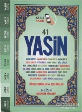 Fihristli 41 Yasin Türkçe Okunuşu ve Meali Sesli Yeşil Kapak (Çanta Boy)