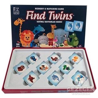 Find Twins Hafıza ve Eşleştirme Oyunu - Sevimli Hayvanlar Büyük 54 Parça