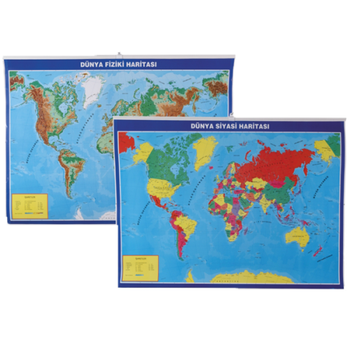 Gülpaş Harita Dünya Siyasi-Fiziki Çıtalı 70x100 998