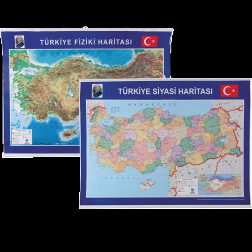 Gülpaş Harita Türkiye Siyasi-Fiziki Çıtalı 70x100 999