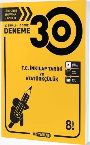 Hız Yayınları 8. Sınıf TC İnkılap Tarihi ve Atatürkçülük 30 Deneme