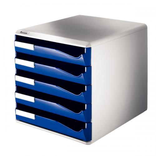 Leitz Evrak Rafı Çekmeceli Plastik 5 Lİ Mavi 5280