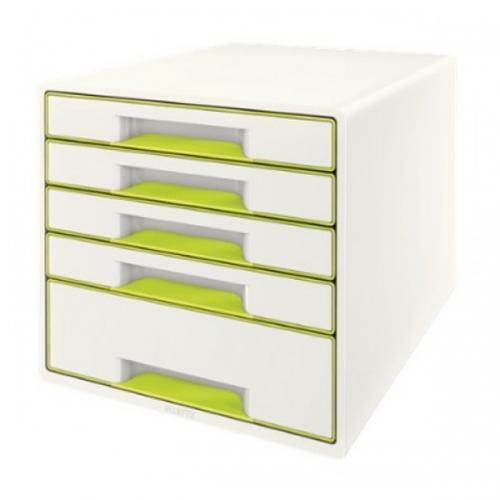 Leitz Evrak Rafı Çekmeceli Plastik Wow 5 Lİ Metalik Yeşil,Beyaz L-5214