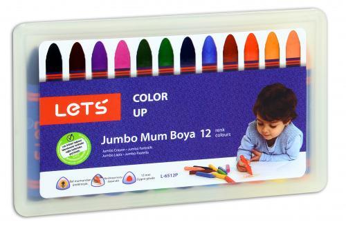 Lets Mum Pastel Boya Plastik Kutu Jumbo 12 Renk L-6512P