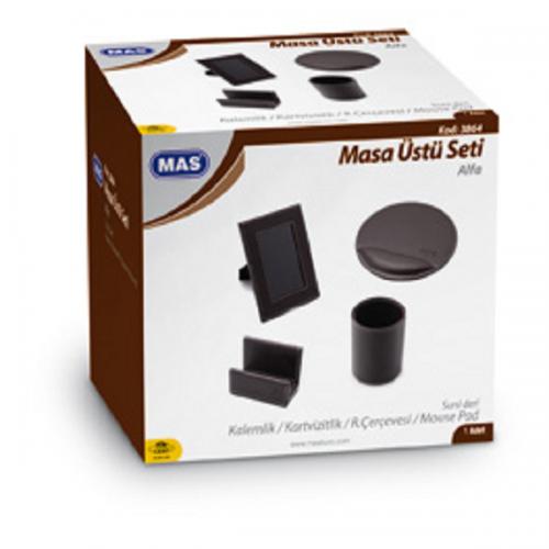 Mas Masa Seti Alfa Kalemlik-Kartvizitlik Resim Çerçevesi-Mouse Pad Suni Deri Siyah 3864