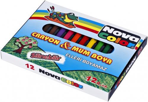Nova Color Mum Pastel Boya Karton Kutu Yarım Boy Köşeli 12 Lİ NC-1112