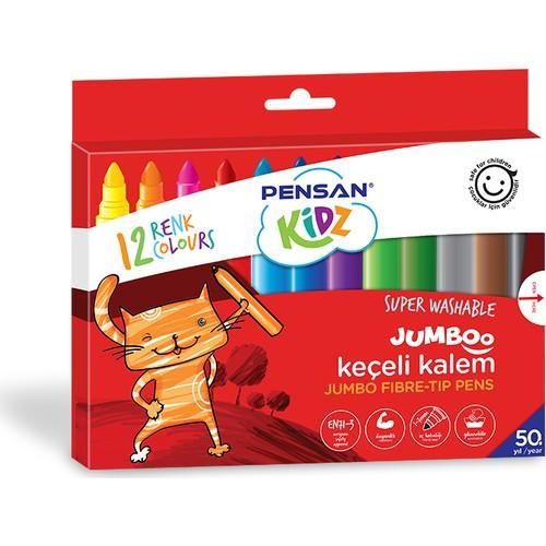 Pensan Keçeli Boya Kalemi Kidz Jumbo Yıknabilir 12 Renk 99040
