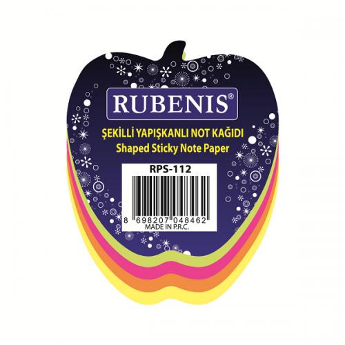 Rubenis Yapışkanlı Not Kağıdı Elma Desenli Fosforlu 4 Renk RPS-112