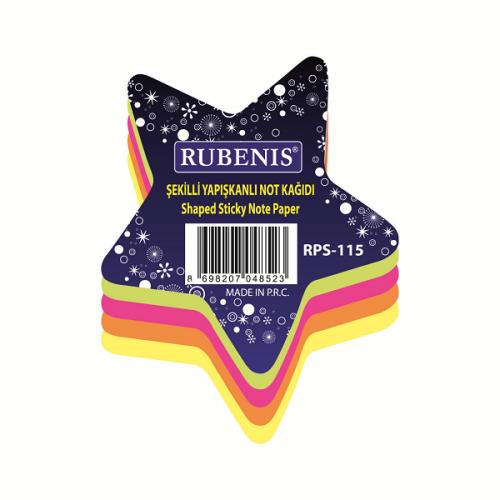 Rubenis Yapışkanlı Not Kağıdı Yıldız Desenli Fosforlu 4 Renk RPS-115