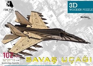 Savaş Uçağı Ahşap 3D Wooden Puzzle