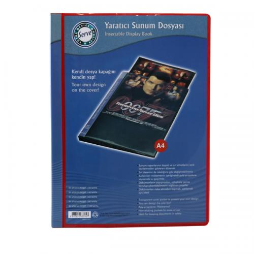 Serve Katalog (Sunum) Dosya Önü-Sırtı Cepli 20 Lİ Kırmızı SV6720