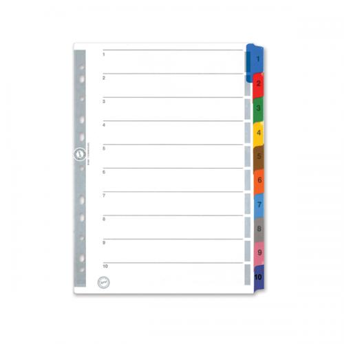 Serve Seperatör 1-10 Rakamlı Renkli Kağıt A4 SV5524K