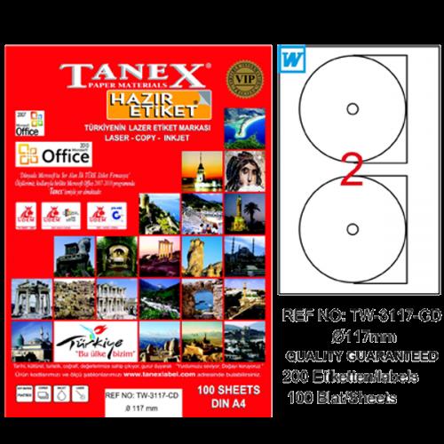 Tanex Cd Etiketi Laser-Copy-Inkjet 100 YP 117 MM TW-3117