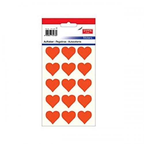 Tanex Etiket Stickers Kuşe Kalp Flo Kırmızı 5 Adet STC-301