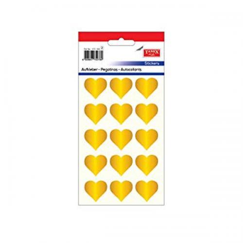 Tanex Etiket Stickers Kuşe Kalp Gold 5 Adet STC-303
