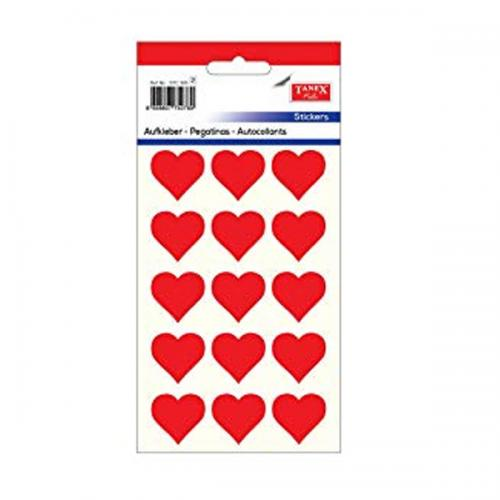 Tanex Etiket Stickers Kuşe Kalp Kırmızı 5 Adet STC-305