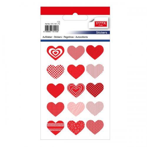 Tanex Etiket Stickers Metalize Yıldız Kalp 9x16 3 Adet STC-131
